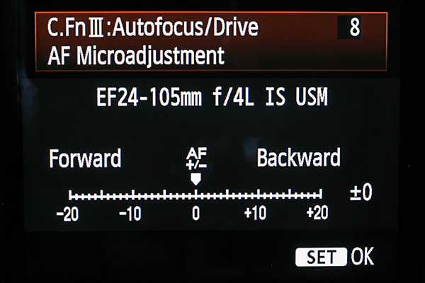 Canon AF Microadjustment Screen