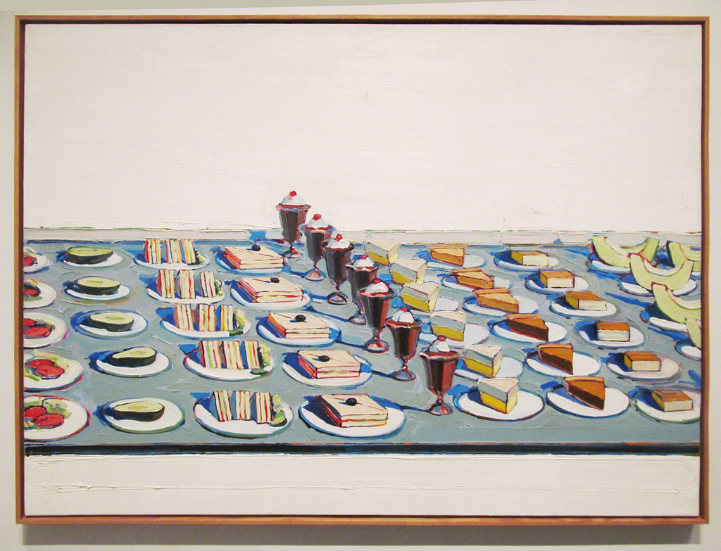 Wayne Thiebaud, Wayne Thiebaud postmodern food illustration, food fine arts icons, iconic food still life paintings, surrealist food painting, postmodern food illustrator, food fine arts inspiration, food creative inspiration, influential food artist, pop art food art pioneer Wayne Thiebaud, postmodern food art, salads sandwiches and desserts by waybe thiebaud