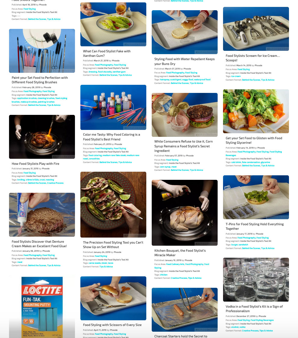 phoode food photography blog segments; professional food photography blog; international food photography community; food photographers creatives network website, inside the food stylists tool kit